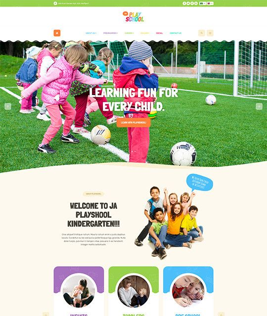 JA PlayschoolJA Playschool a Creative and colourful Joomla Template for Playschool website designed by JoomlArt. The template fully supports JomSocial to build beautiful social, community system on your Joomla playschool website.